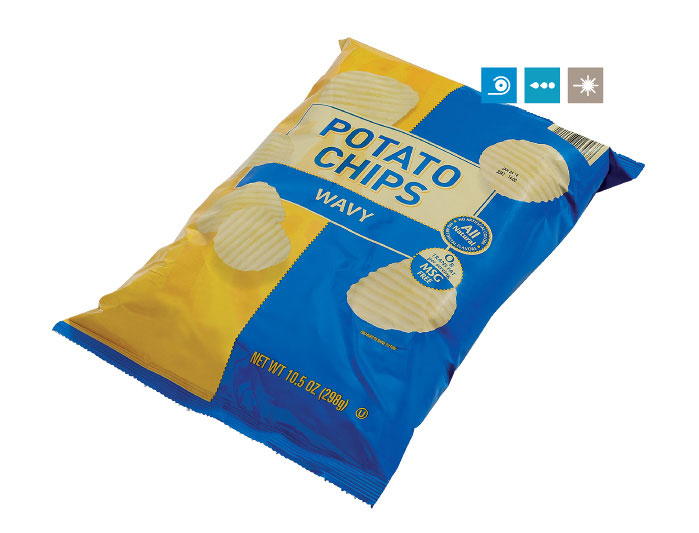 Printing on Laminated Pouches of Salty Snacks using pouch printing machine, pouch printing, pouch printing machine, batch coding machine for pouch